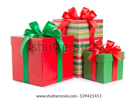 Christmas gift stock images royalty free images vectors green and red gift box with a ribbon and a bow isolated negle Images