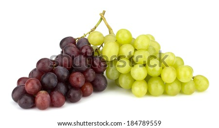 Green and red grape bunch isolated on white background - stock photo