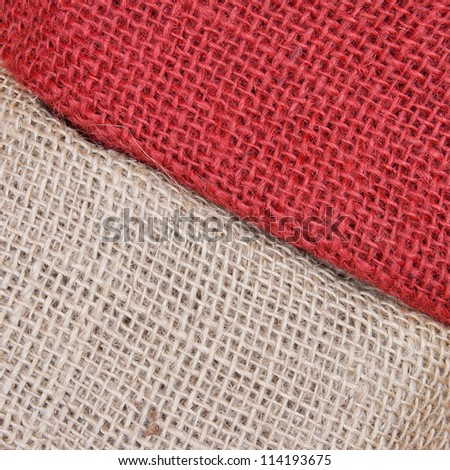 green and red gunny background closeup - stock photo