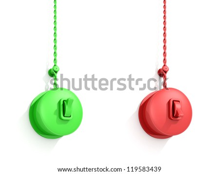 green and red ON OFF retro switch on white wall - stock photo