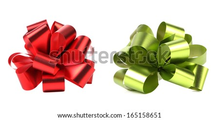 Green and red packaging bow. Isolated on a white background. - stock photo