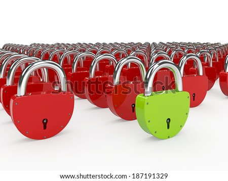 Green and red padlocks on a white background - stock photo