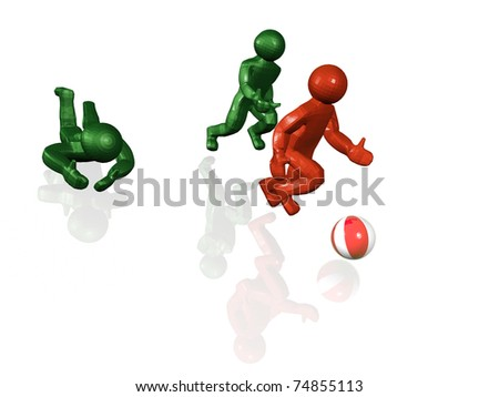 Green and red running mans and ball, white background.