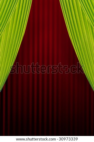 Green and Red stage curtain. - stock photo