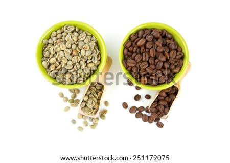 green and roasted coffee beans - stock photo