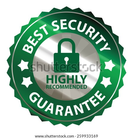 green and silver metallic best security guarantee highly recommended sticker, sign, stamp, icon, label isolated on white - stock photo