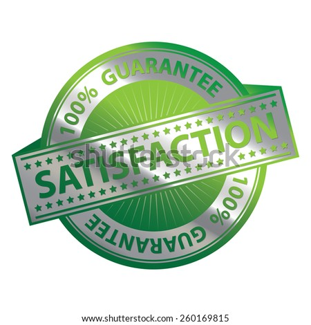 Green and Silver Metallic 100% Guarantee Satisfaction Badge, Icon, Sticker, Banner, Tag, Sign or Label Isolated on White Background - stock photo
