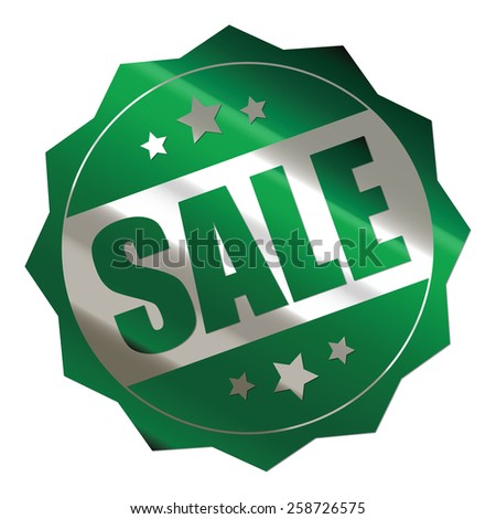 green and silver metallic sale sticker, badge, icon, stamp, label, banner, sign isolated on white  - stock photo