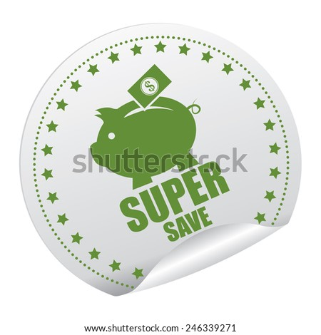 Green and Silver Super Save Sticker, Icon, Badge, Sign or Label Isolated on White Background  - stock photo