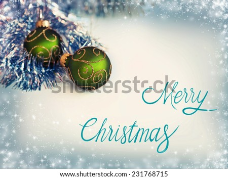 Green and silver xmas decoration with copy space, Merry Christmas - stock photo