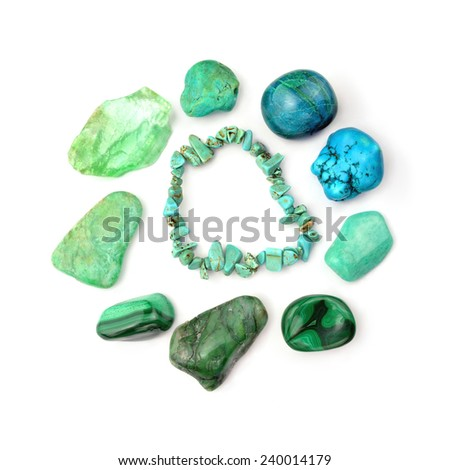 Green And Turquoise Gemstones, Isolated On White Background - stock photo