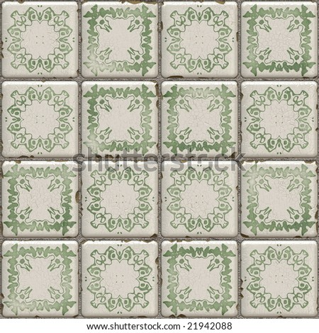 green and white abstract illustration of tiles - stock photo