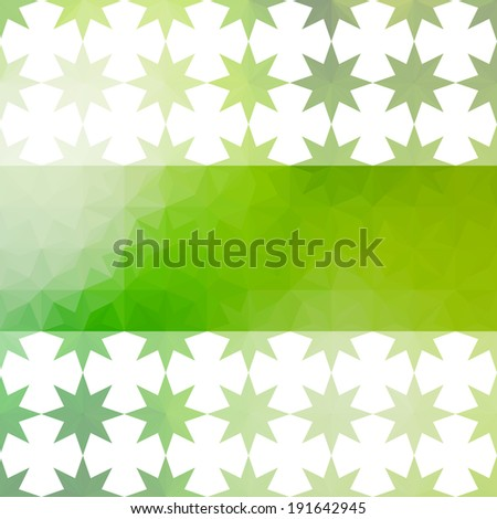 Green and white background with bright stripe and ornament with stars. Raster version - stock photo