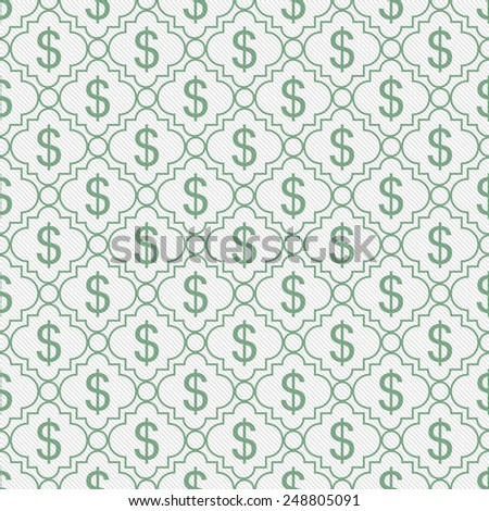 Green and White Dollar Sign Pattern Repeat Background that is seamless and repeats - stock photo