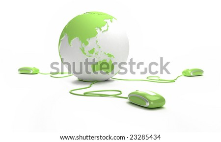 Green and white Earth Globe connected with three computer mice - stock photo