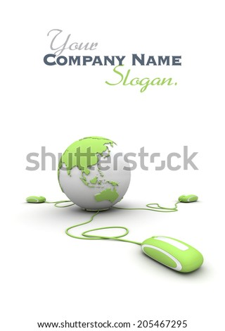 Green and white Earth Globe connected with three computer �¢??mouses�¢?�. - stock photo