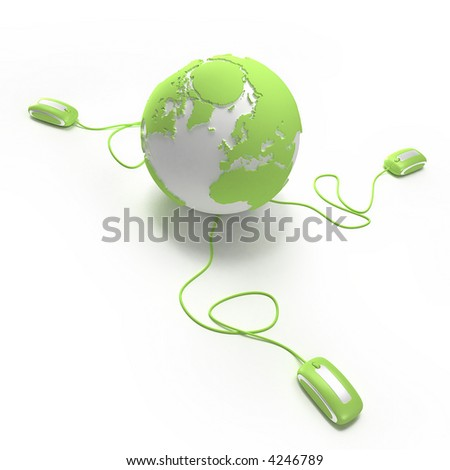 "Green and white Earth Globe connected with three computer ""mouses"". - stock photo"