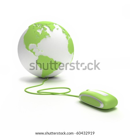 Green and white Earth Globe oriented to America connected with a computer mouse - stock photo