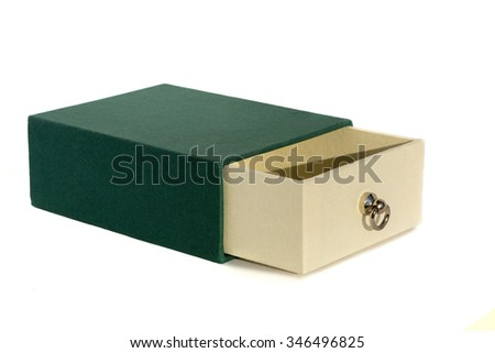 Green and white gift box .Open box.