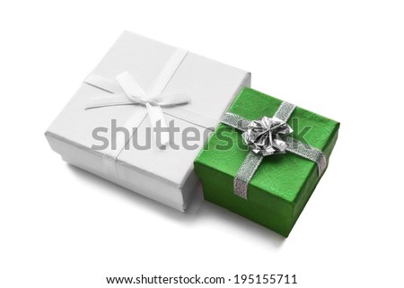 Green and white gift boxes isolated over white