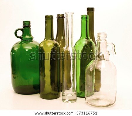 Green and white glass bottles for recycling