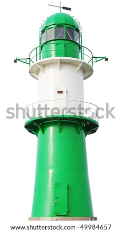Green and white Lighthouse isolated on white background. Germany, Ost See. - stock photo