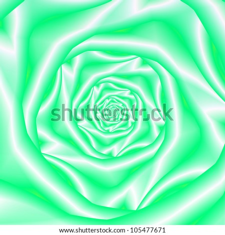 Green and White Rose Spiral/Computer generated abstract image with a spiral rose flower design in green and white.