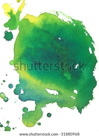 Green and yellow abstract watercolor background - stock photo