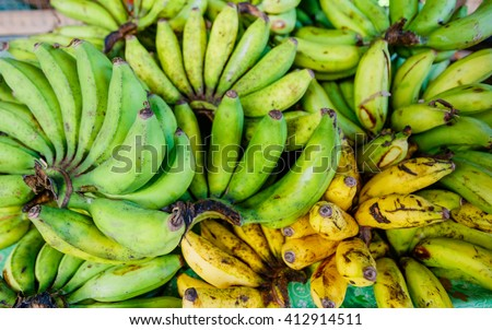 Green and yellow bananas on the market, Philippines
