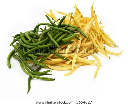 green and yellow beans against white background, natural shadow under it