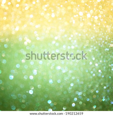 green and yellow bokeh lights. concept for brazilian  flag colors. - stock photo