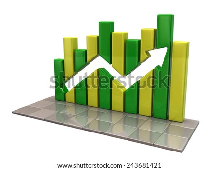 Green and yellow business graph - stock photo