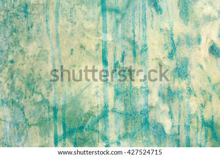 Green and yellow grungy and smooth bare concrete wall texture - stock photo