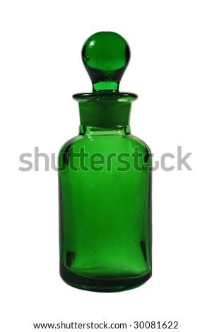 Green Apothecary Bottle - stock photo