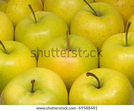 Green appetizing fresh apples as background closeup - stock photo