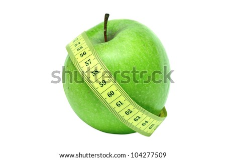 green apple and a centimeter