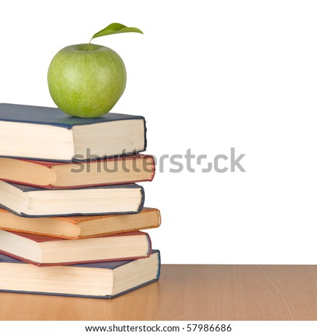 green apple and books
