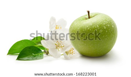 Green apple and flower on the white background