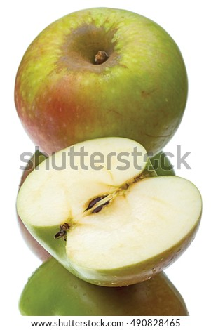 Green apple and half isolated on a white background