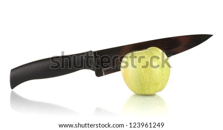 Green apple and knife isolated on white