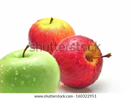 Green apple and red apple fruits - stock photo