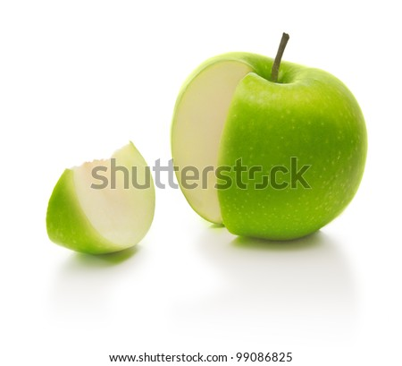 green apple and slice - stock photo