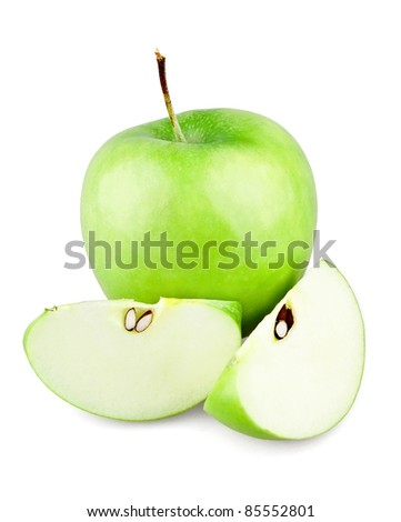 Green apple and two slices with seeds on white background