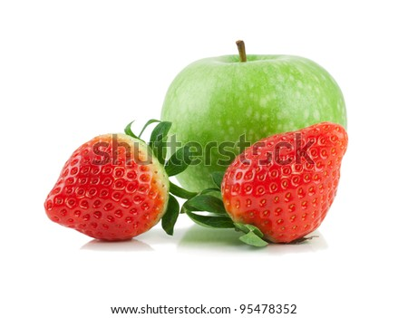 Green apple and two strawberries  isolated on a white background - stock photo
