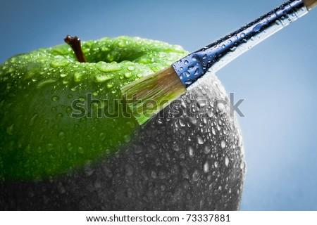 Green apple as art concept - stock photo