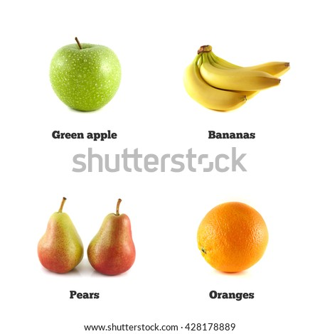 Green apple, banana and orange. Red pear fruit isolated. Fresh natural apple. Health organic apple. Ripe apple on white background. Beautiful tasty apple. Natural eco green apple. Juicy apple. - stock photo