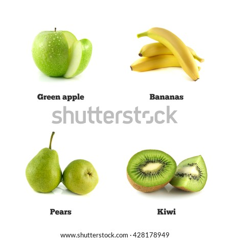 Green apple, banana and pear. Kiwi fruit isolated. Fresh natural apple. Health organic apple. Object on white background. Beautiful tasty apple. - stock photo