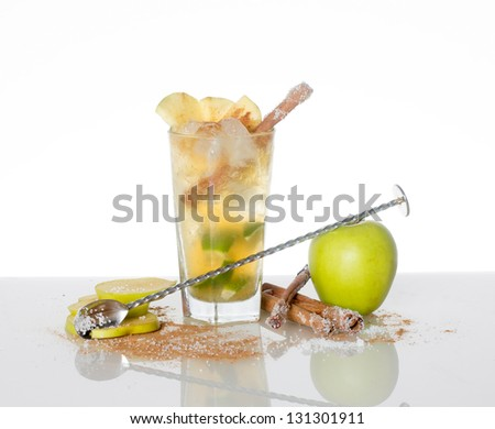 Green Apple cocktail with decorations - stock photo