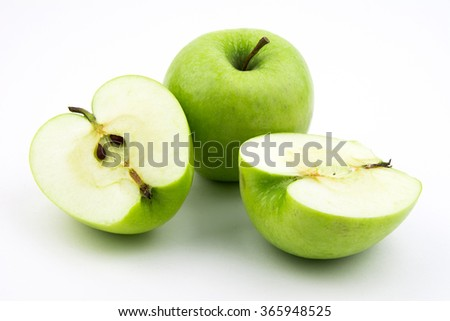 Green apple collection isolated on white background / Green apple isolated on white background cutout
