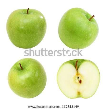 Green apple collection. set of fruit isolated on white - stock photo